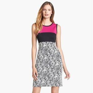Colorblock Ponte & Python Jacquard Dress